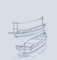 drawing of fishing trawler at the sea vector image
