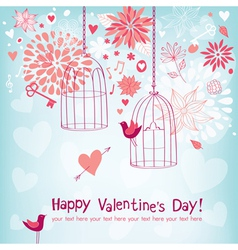 Floral Card for Valentines Day vector image vector image