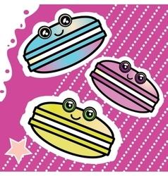 Kawai sweet cartoon funny Macaron on a pink vector image vector image