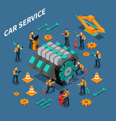 car service isometric composition vector image vector image
