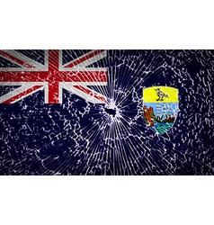 Flags Saint Helena with broken glass texture vector image