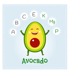 avocado fruit vitamins and minerals funny fruit vector image vector image