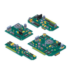 different computer boards with semiconductors vector image