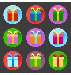 Flat gift box icons set vector image