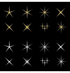 Golden and silver sparkles vector image