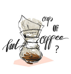 hand made abstract textured coffee graphic vector image vector image