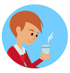 man with cup in his hand drinking hot coffee vector image vector image