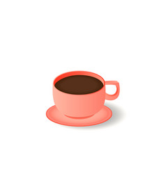 a cup coffee and saucer top view realistic vector image