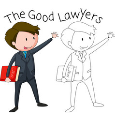 A doodle lawyer character vector