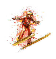 abstract jumping skier from a splash watercolor vector image