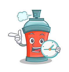 Aerosol spray can character cartoon with clock vector