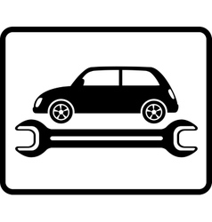 auto service icon with retro car and wrench vector image