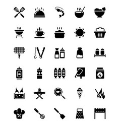Barbecue food glyph icons set vector