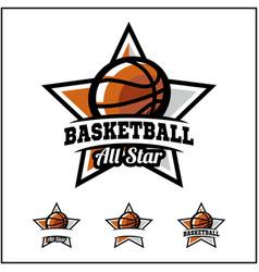 Basketball ball all star badge logo vector