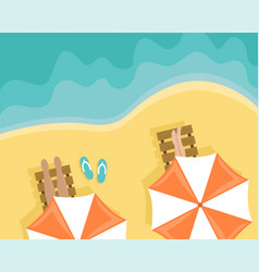 beach with people lying on sun loungers vector image