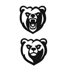 bear mascot black emblem head on white background vector image