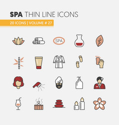 Beauty and spa linear thin line icons set vector