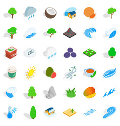 Big tree icons set isometric style vector