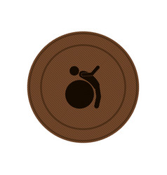 Brown circular frame with training in gym ball vector
