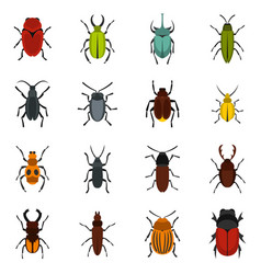Bugs set flat icons vector