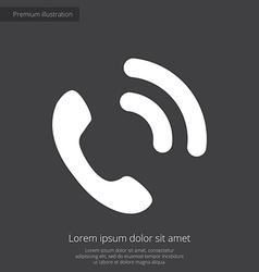 Call premium icon white on dark background vector