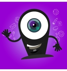 Camera webcam big eyes character cartoon smile vector