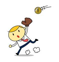 cartoon businessman get the ball vector image