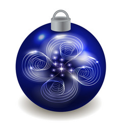 christmas ball isolated on white background blue vector image