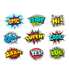 Comic book sound effects speech bubbles vector