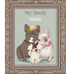 cute bulldog family portrait vector image