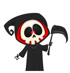 cute cartoon grim reaper with scythe isolated vector image