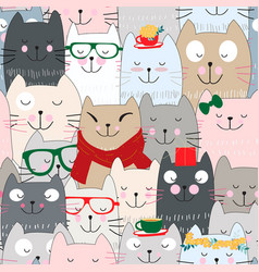 Cute cat celebrated seamless pattern vector