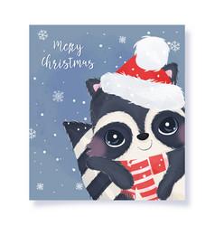 Cute christmas greeting card with raccoon vector