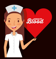 Cute nurse holding heart donate blood vector