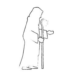 cute saint joseph silhouette character vector image