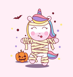 cute unicorn use mummy costume in halloween party vector image