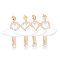 Dance little swans four ballerinas vector