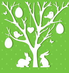 Easter paper decoration in form of easter tree vector