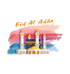 Eid al adha muslim holiday banner with mosque vector