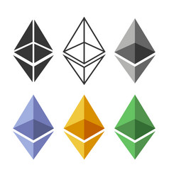 Ethereum coin sign set crypto currency icon vector