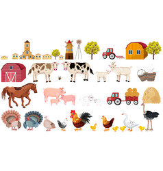 farm big set collection village animals vector image