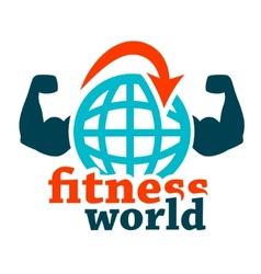 Fitness world icon vector