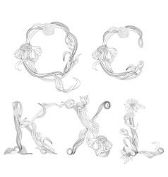 Floral font letter q c k x l vector