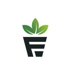 flower leaf in pot letter f logo design vector image