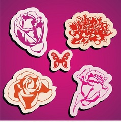 flowers stickers vector image