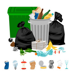 Garbage on white background vector