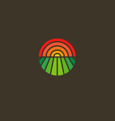 Geometric round logotype sun and field gradient vector