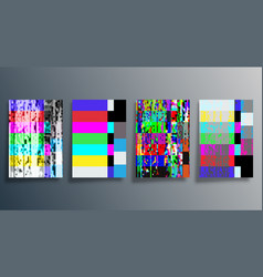 Glitch texture design background set for poster vector