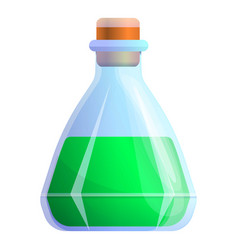 Green magic potion flask icon cartoon style vector