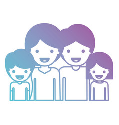 half body people with woman and girl and man and vector image